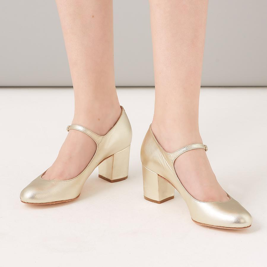 Rachel Simpson Gold Block Heel Mary Jane Shoe