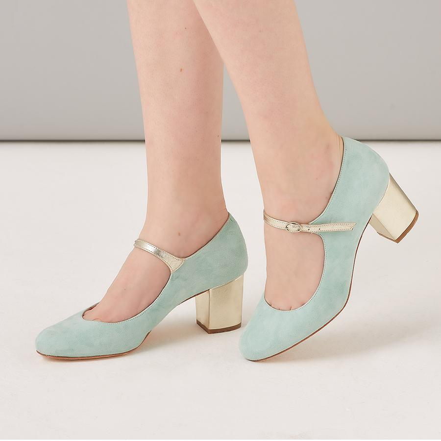Rachel Simpson Mint Block Heel Mary Jane Shoe
