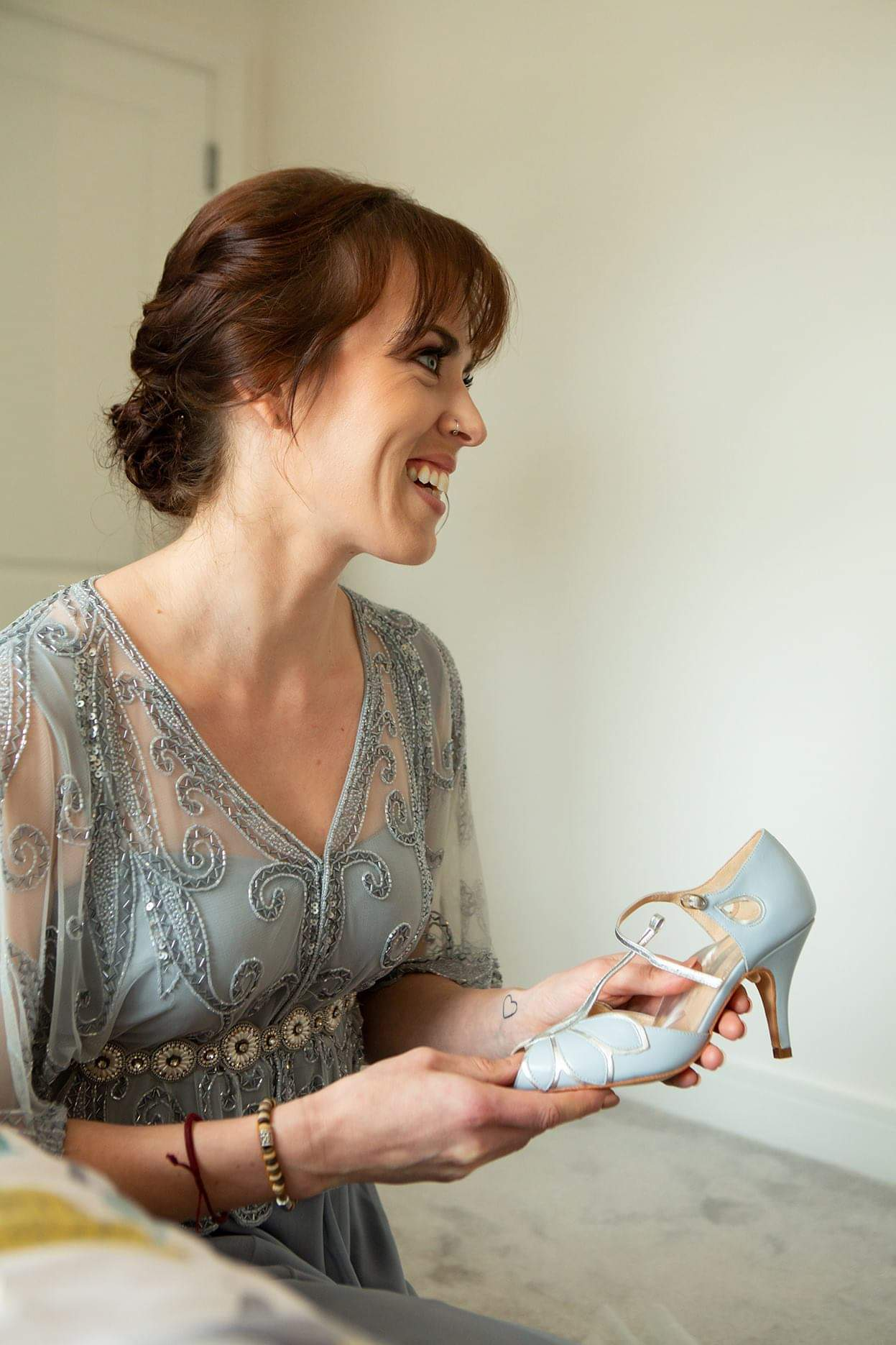 Rachel Simpson Mimosa blue and silver wedding shoes