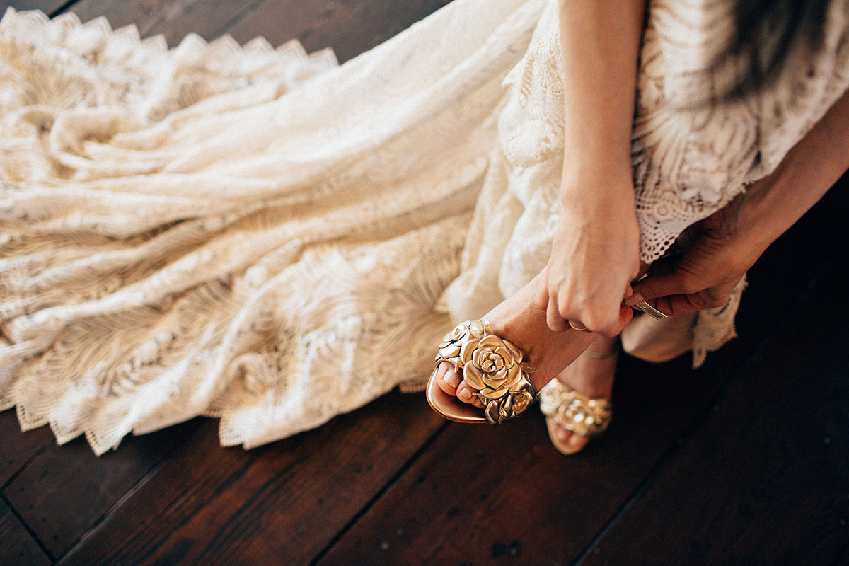 Rachel Simpson Green Wedding Shoes Zadie gold floral wedding shoes