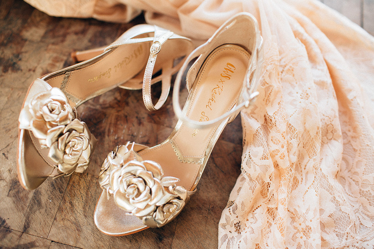 Rachel Simpson Green Wedding Shoes Zadie gold wedding shoes