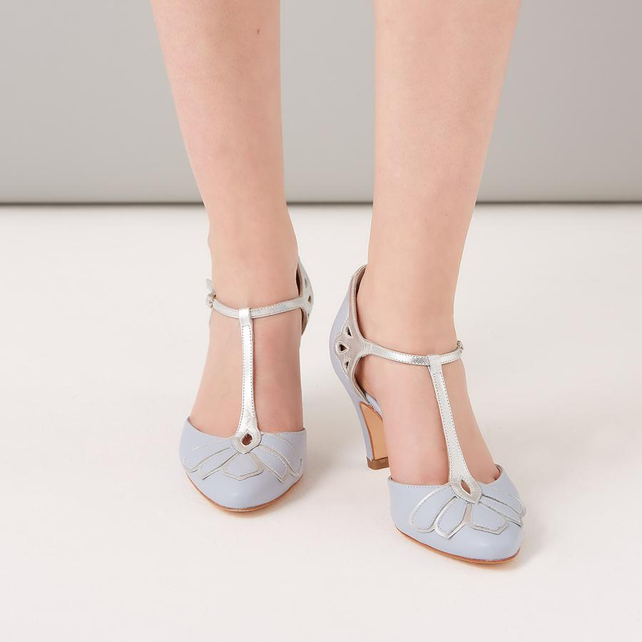 Rachel Simpson Low Heel Blue Wedding Shoes Gardenia