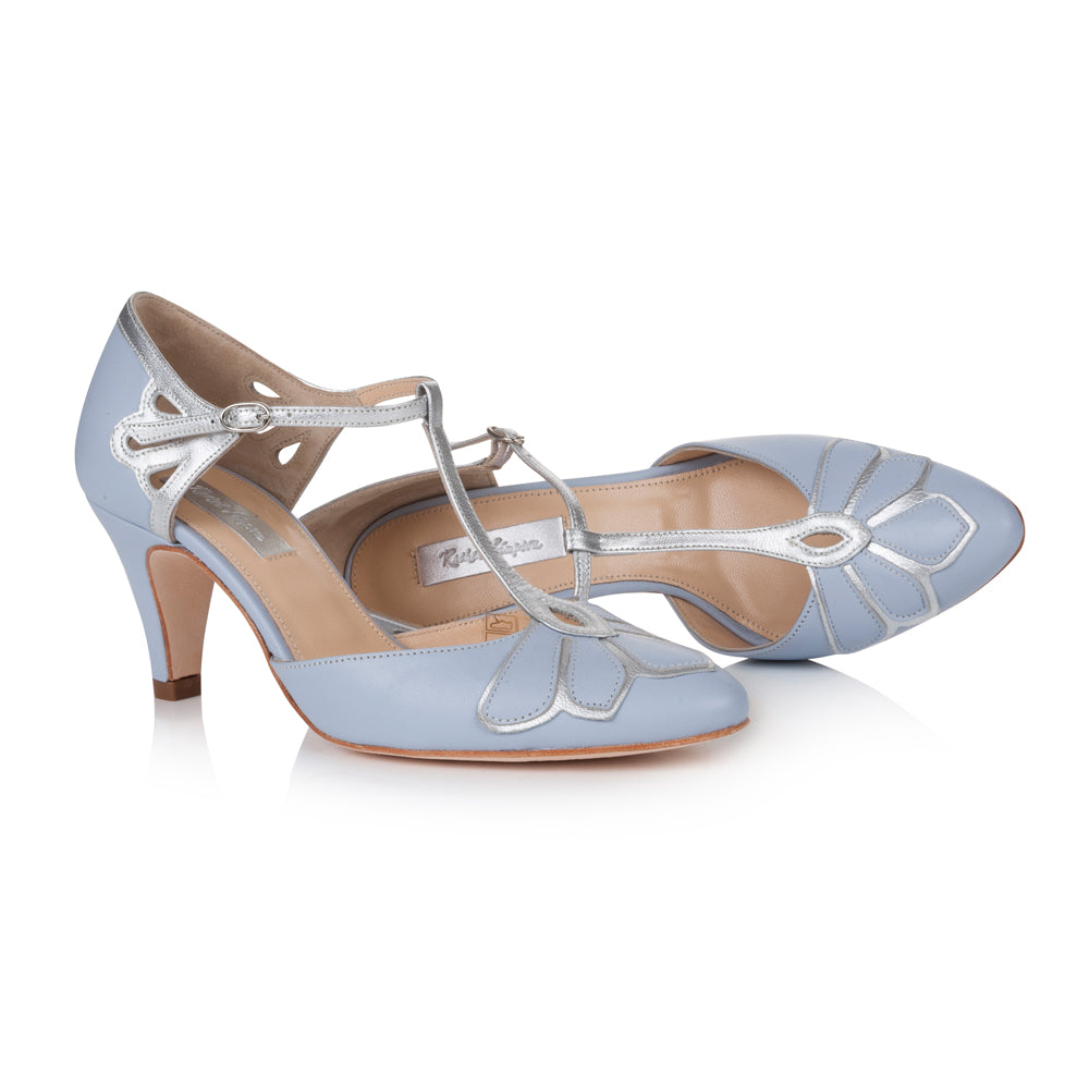 Closed toe blue wedding shoes