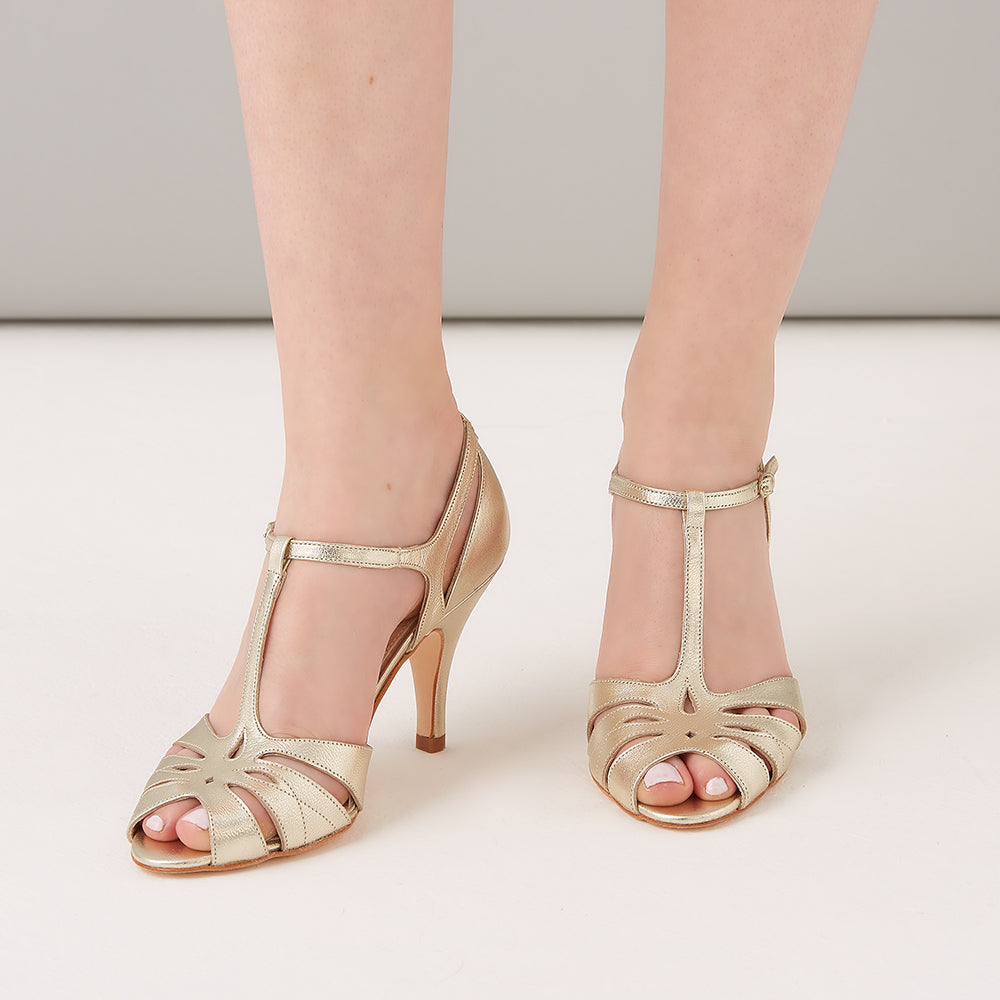 Rachel Simpson Ginger gold t-bar shoes