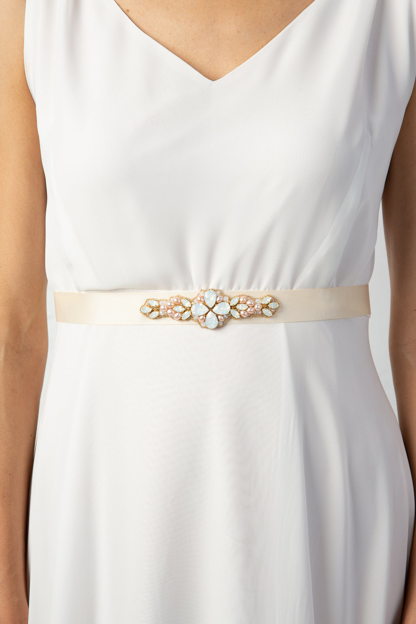 Laurel Lime X Rachel Simpson Pearl Bridal Belt Swarovski crystal