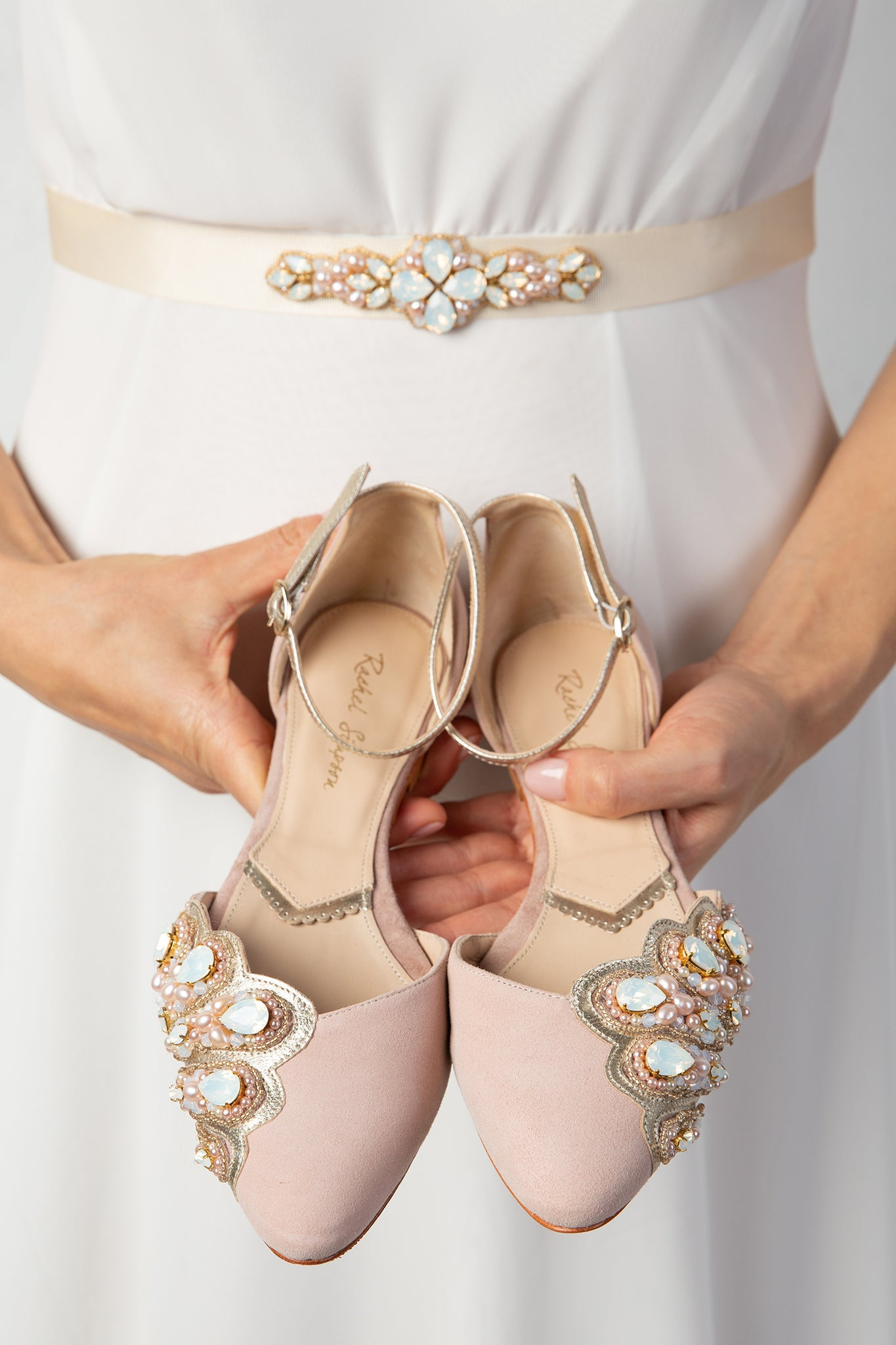 Laurel Lime X Rachel Simpson Amber Pearl Swarovski crystal wedding shoes