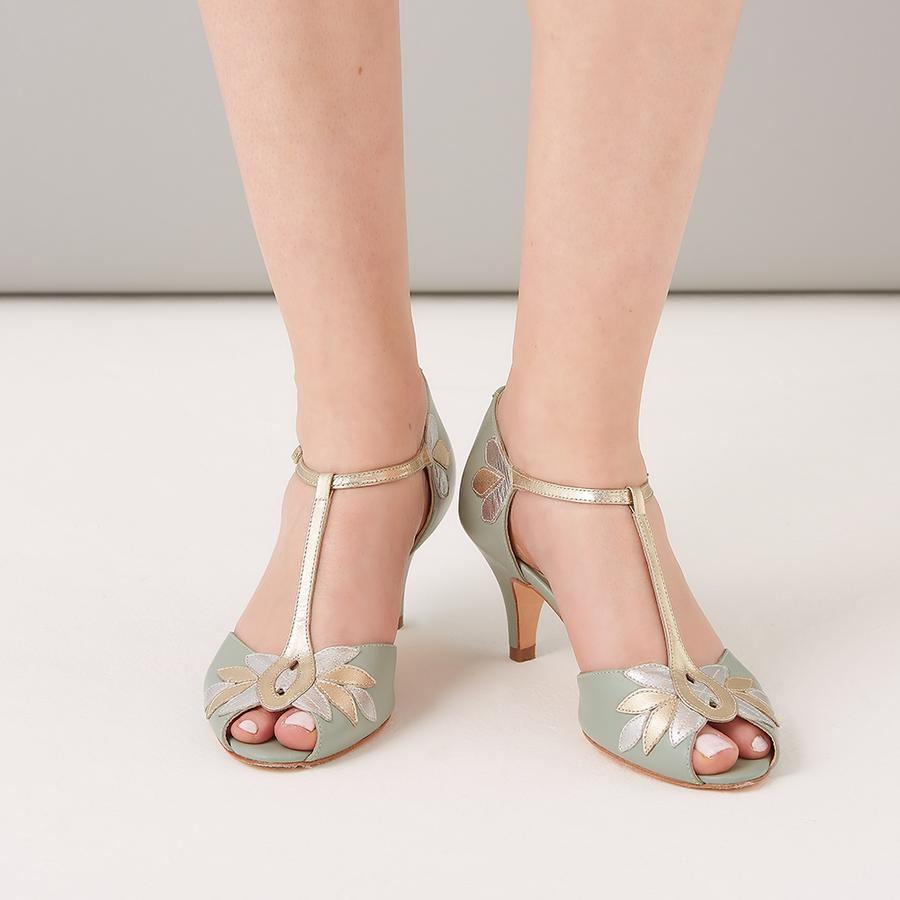 Rachel Simpson Low Heel Green Wedding Shoe