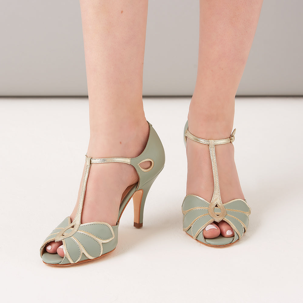 Rachel Simpson Mimosa mint leather t-bar shoe