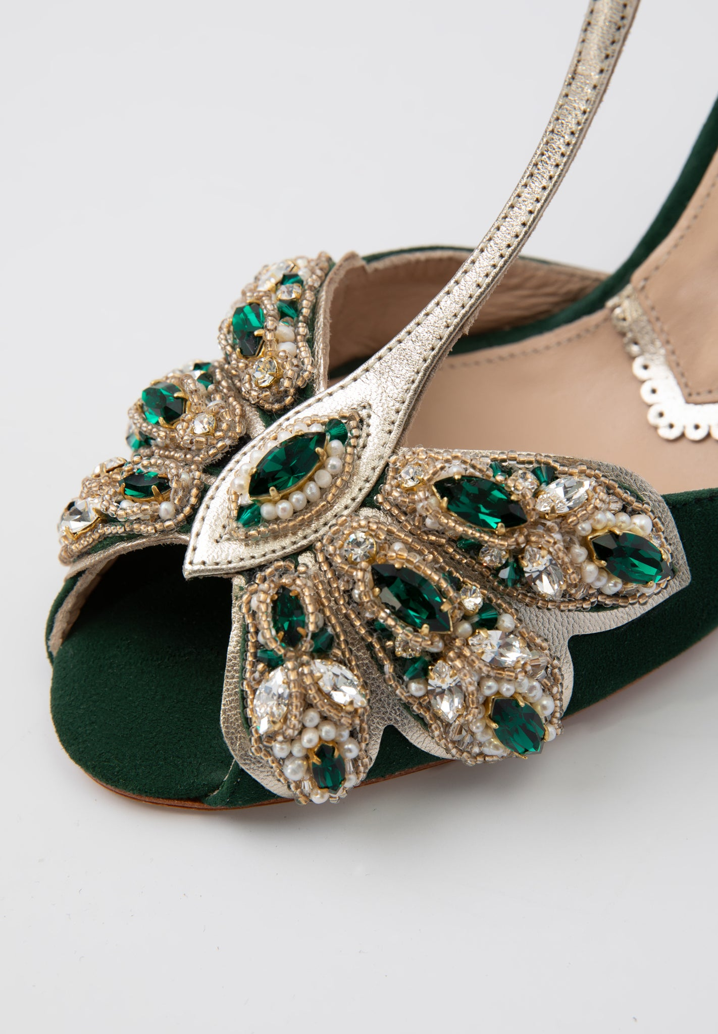 Rachel Simpson Mimosa Emerald embellished green wedding shoes