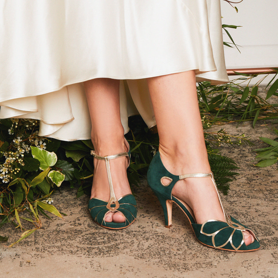 Mimosa Forest Green Wedding Bridal Shoes