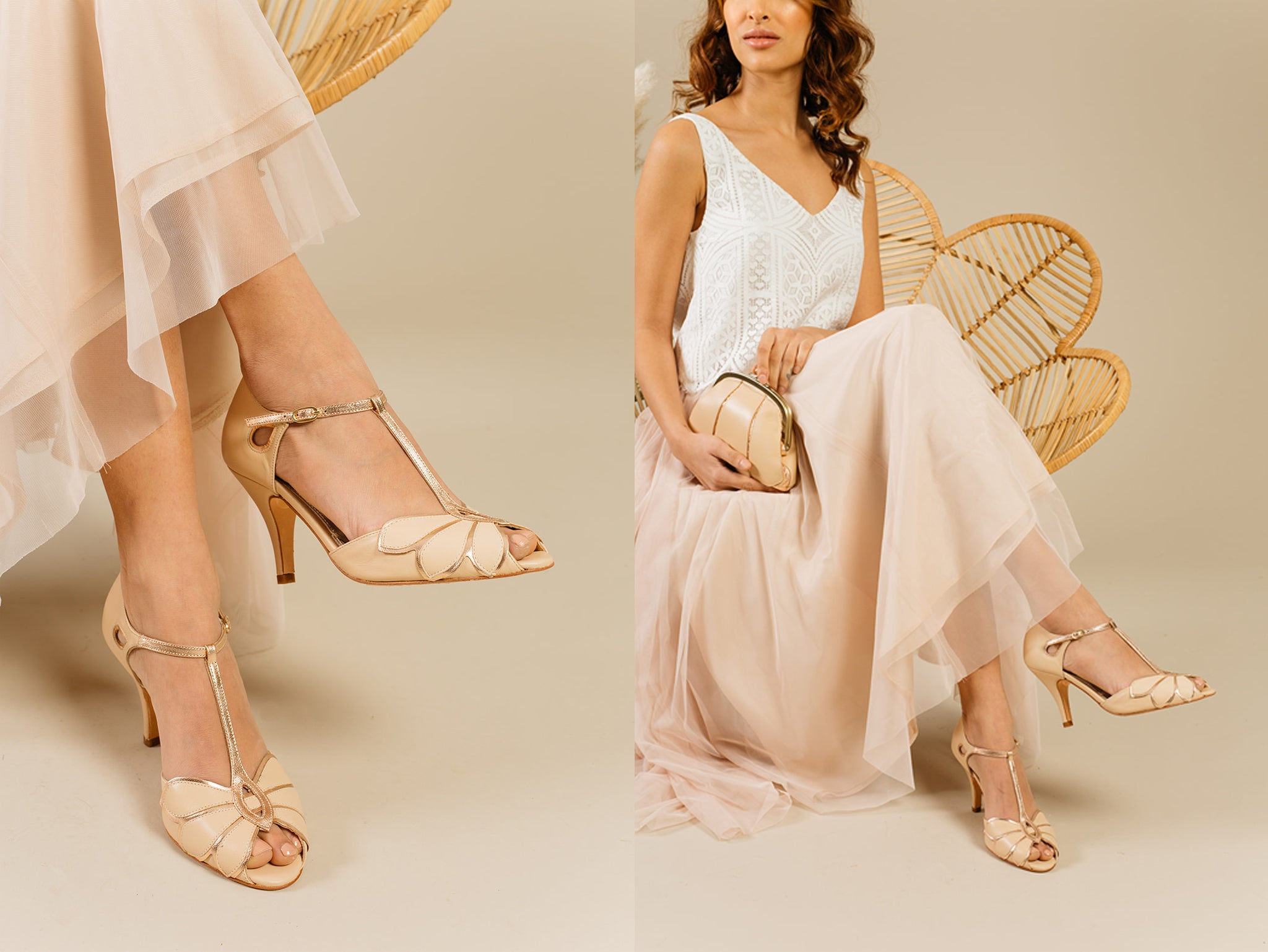 Rachel Simpson Mimosa nude/ rose gold wedding shoes