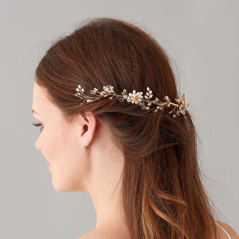 Odette Gold Pearl Hairvine