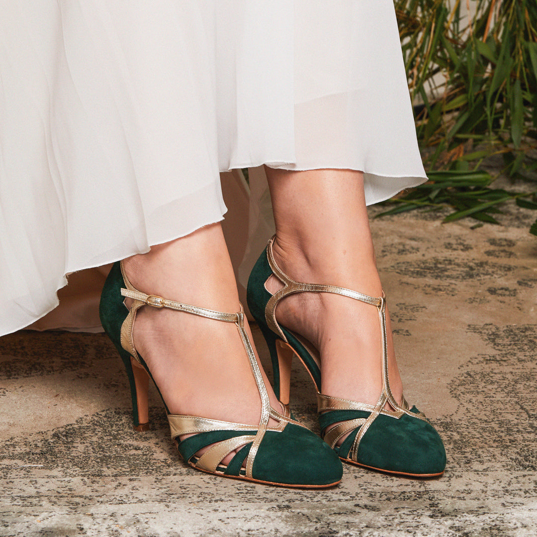 Paloma Forest Green Wedding Bridal Shoes
