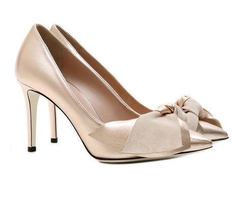 Pollini metallic bow shoes