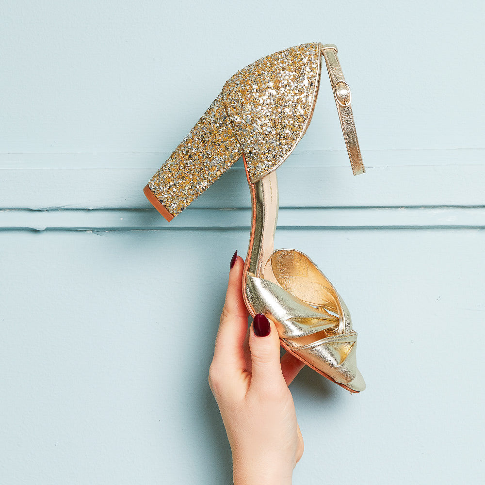 Rachel Simpson Candyfloss gold glitter wedding shoes