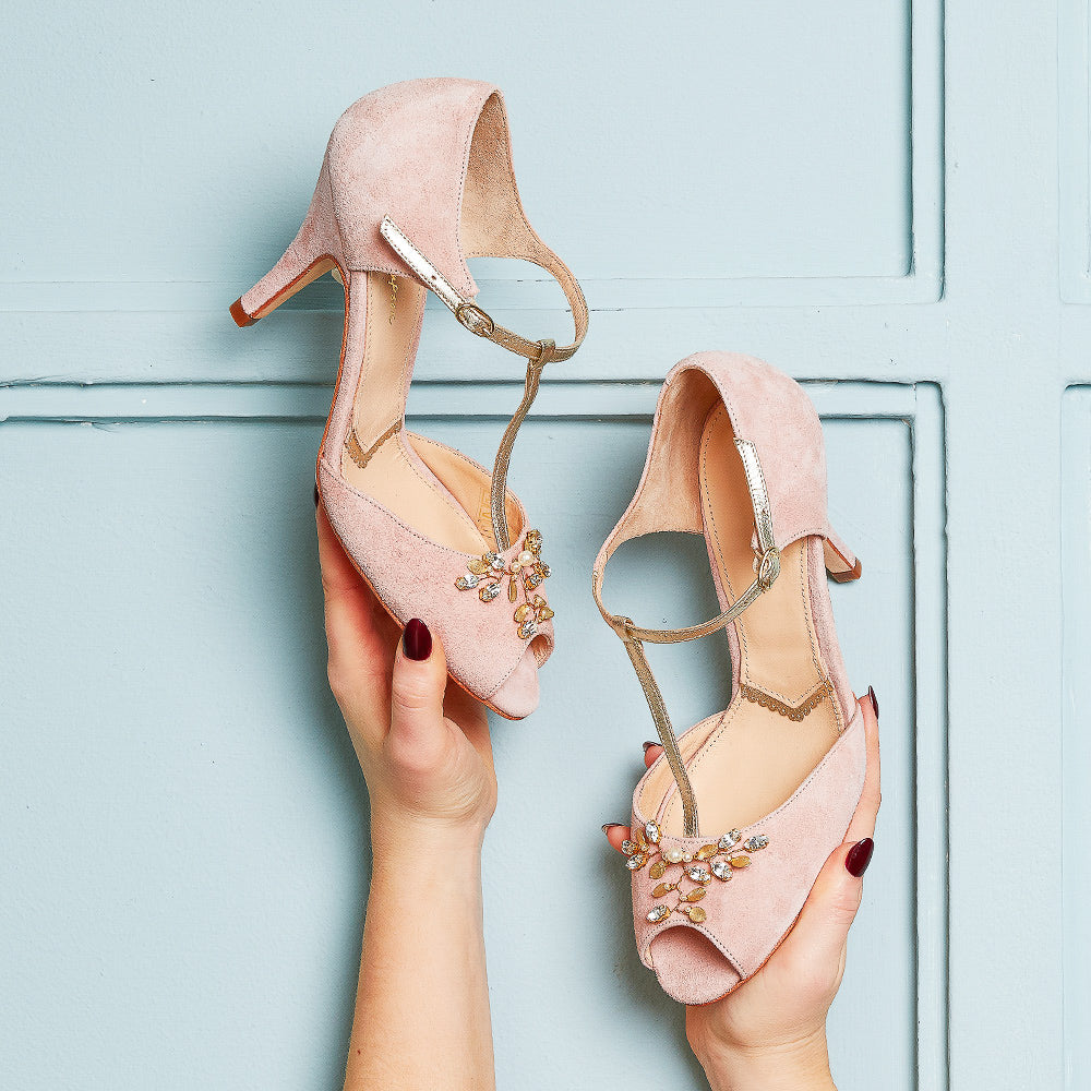 Rachel Simpson Amalia blush pink t-bar wedding shoes