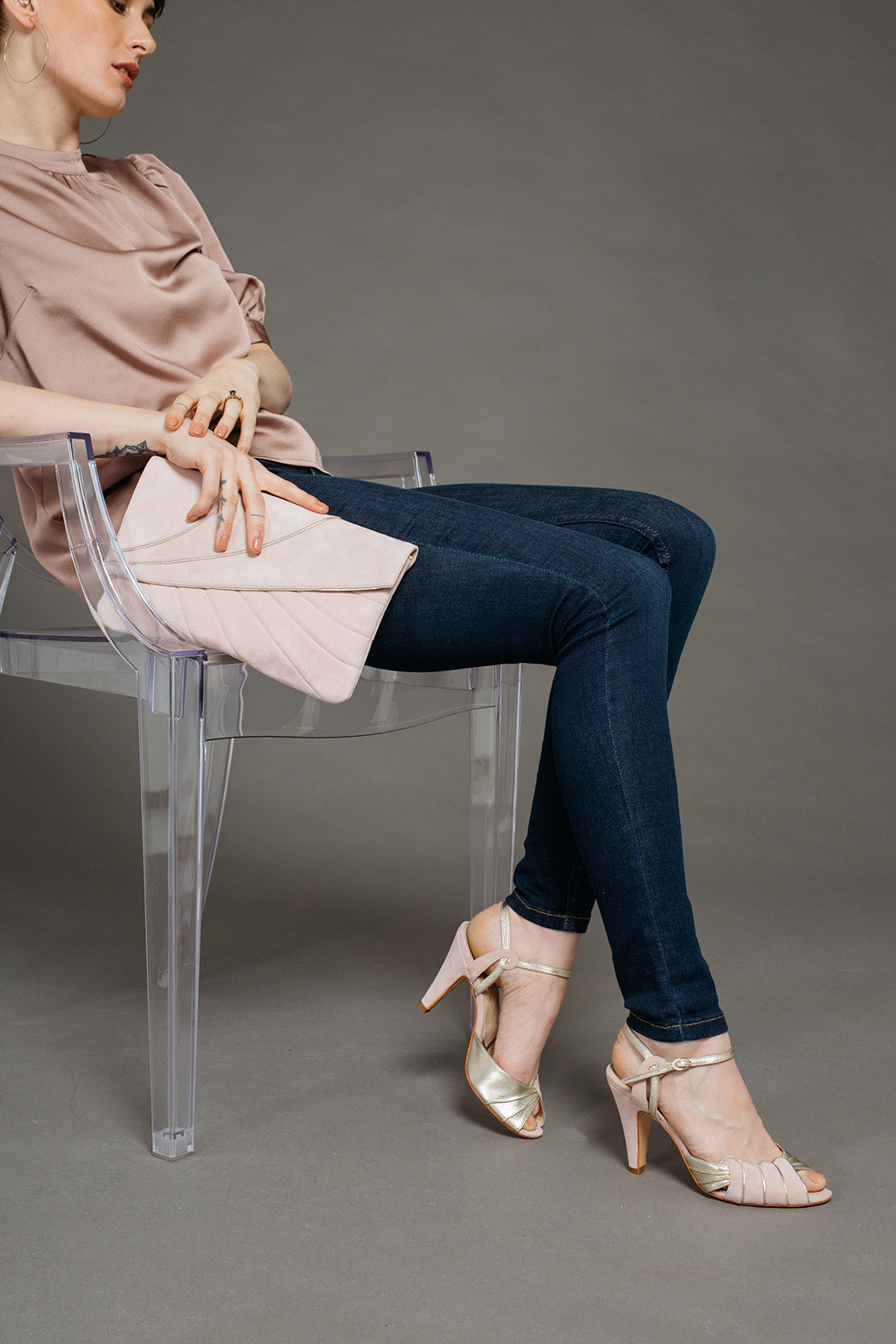 Rachel Simpson Aurelia blush pink shoes and matching bag