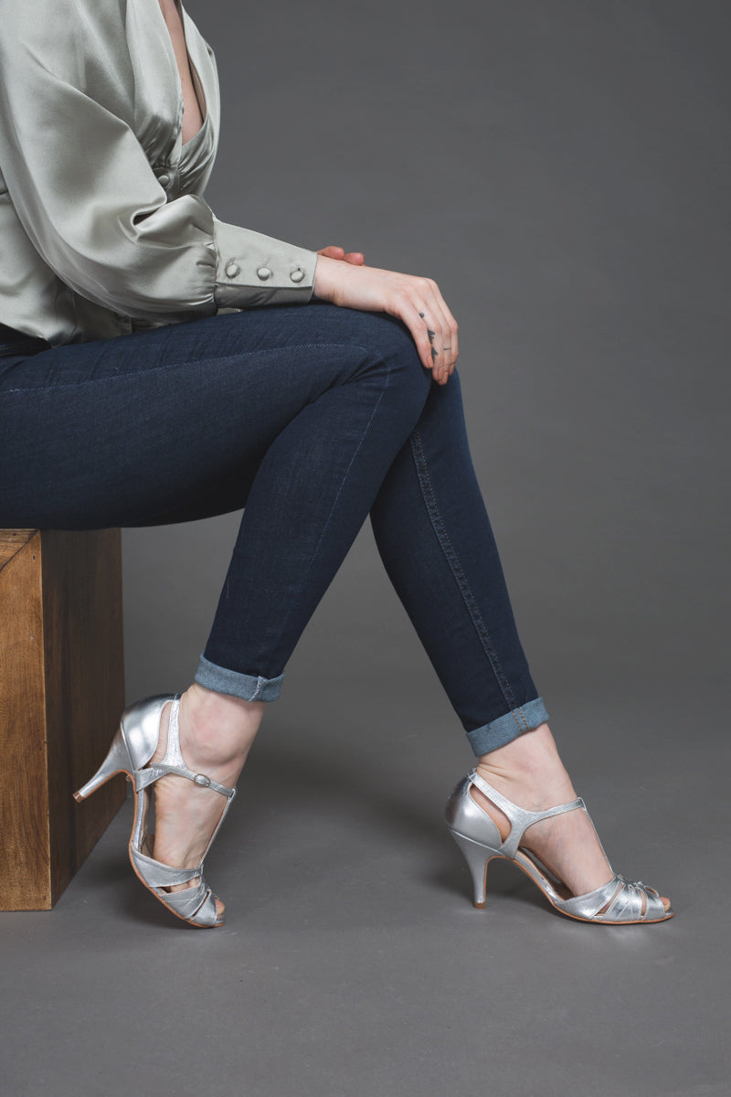 Rachel Simpson Ginger silver party shoes