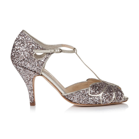 Glittery Mimosa Rachel Simpson Bridal Shoes Vintage Wedding