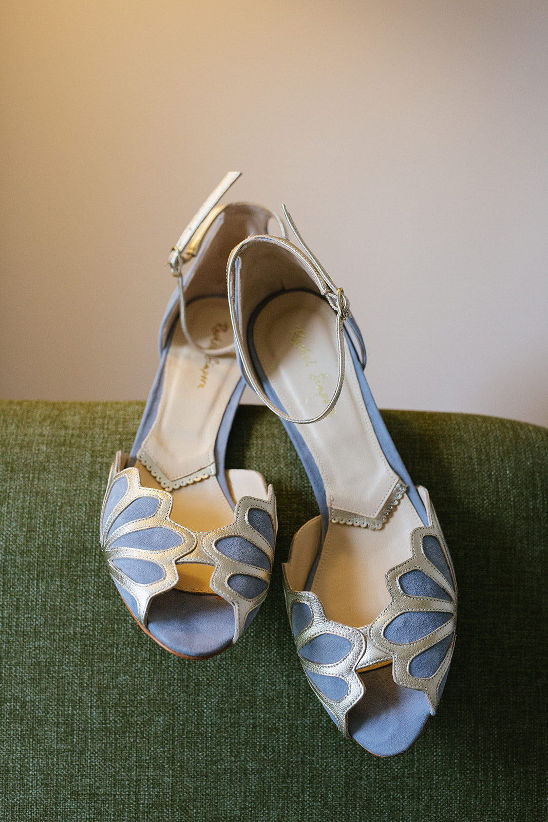 Rachel Simpson Isadora low heel blue wedding shoes