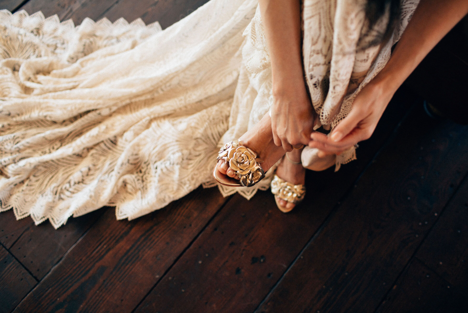 Rachel Simpson Zadie gold floral wedding shoes