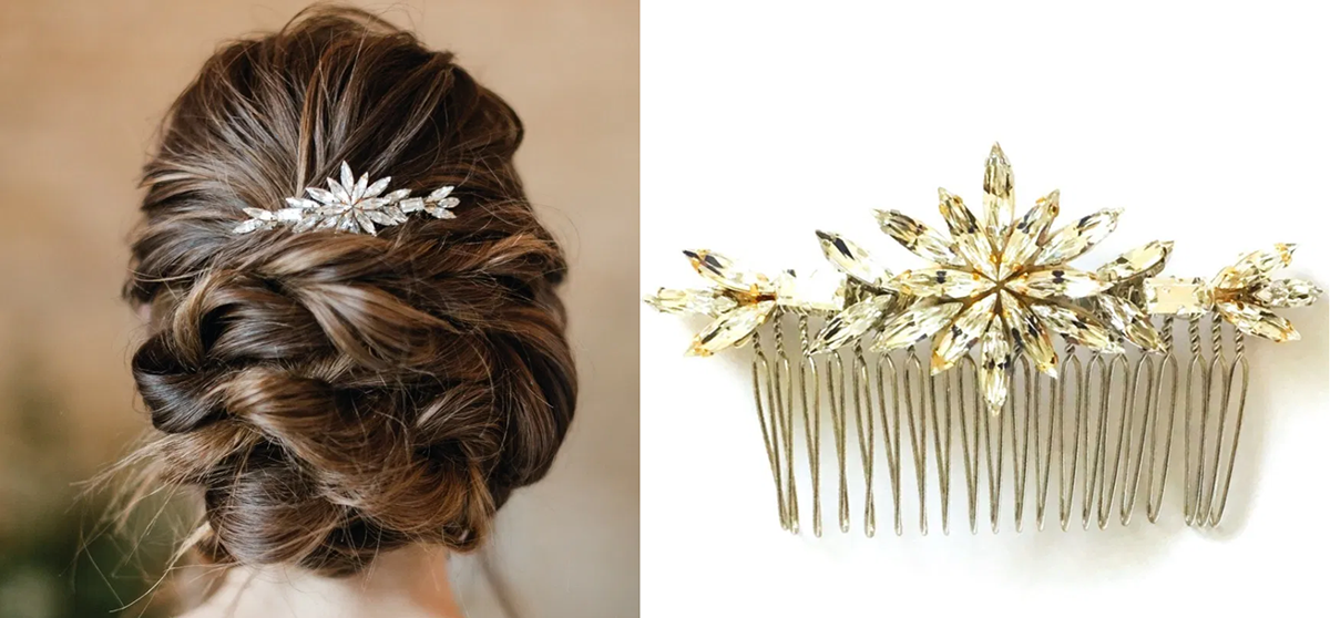 Laurel Lime Goldfinch vintage hair comb