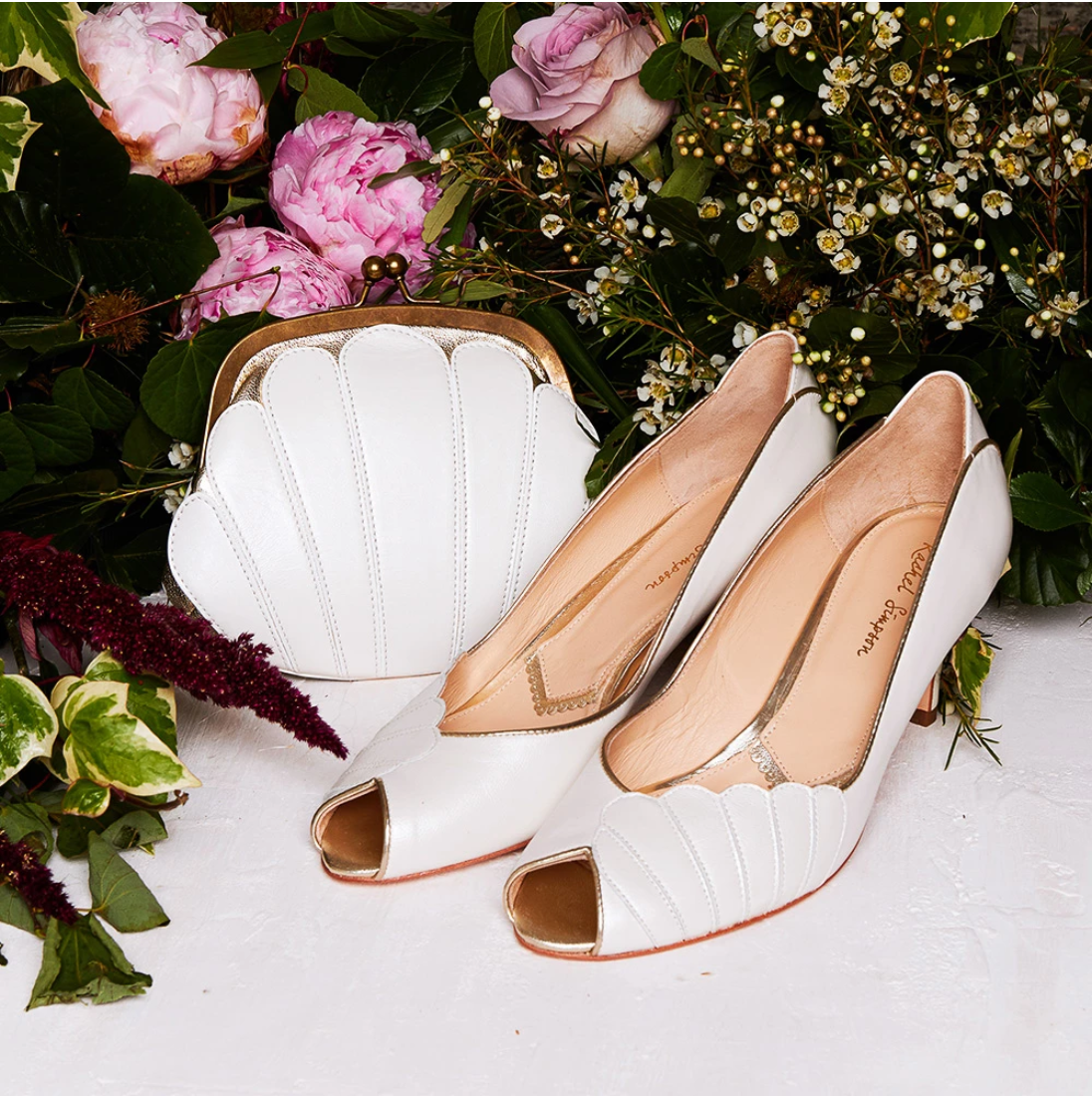 Rachel Simpson Ada ivory low heel vintage wedding shoes