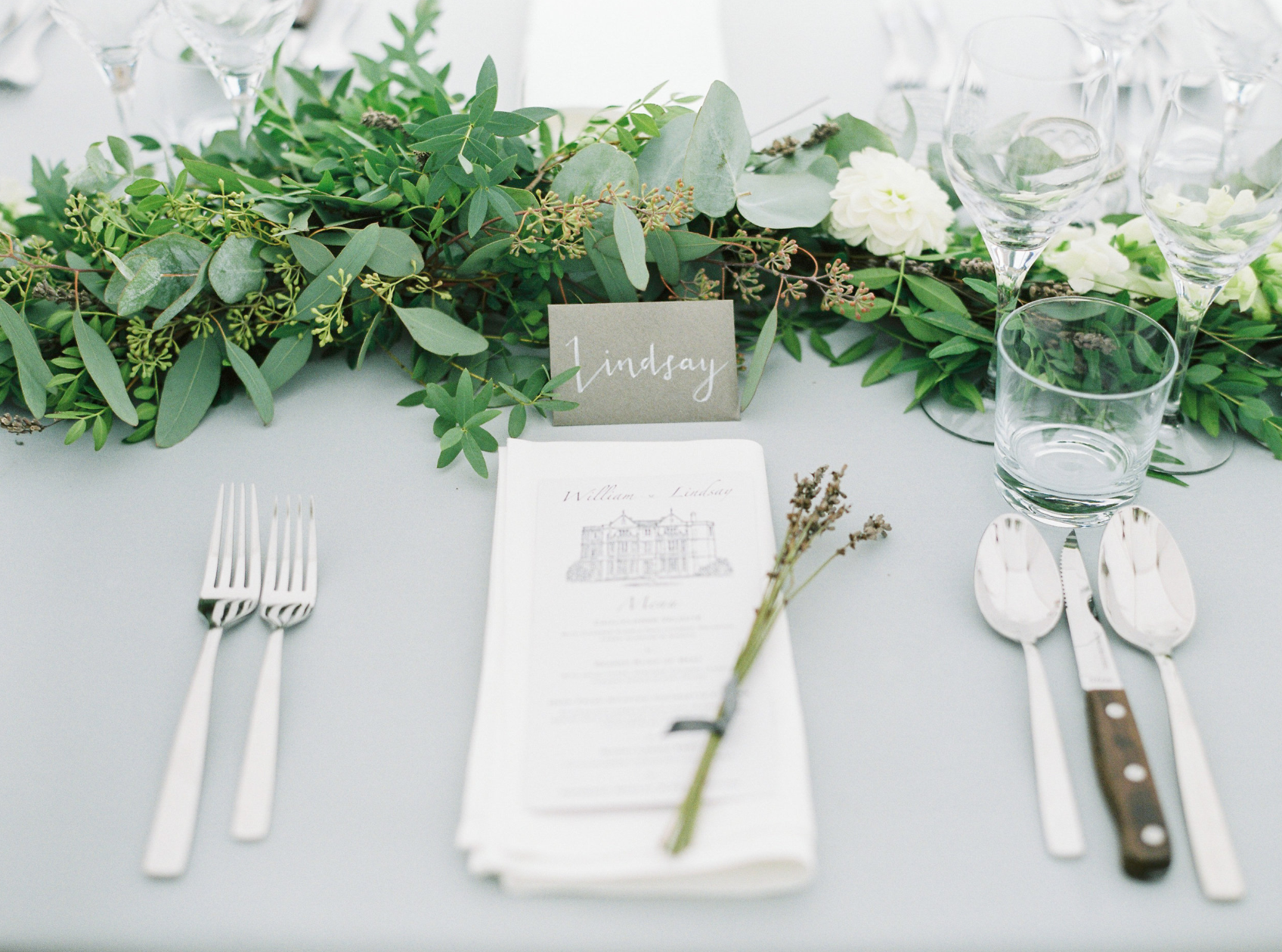 Vanilla Rose Events foliage wedding place setting