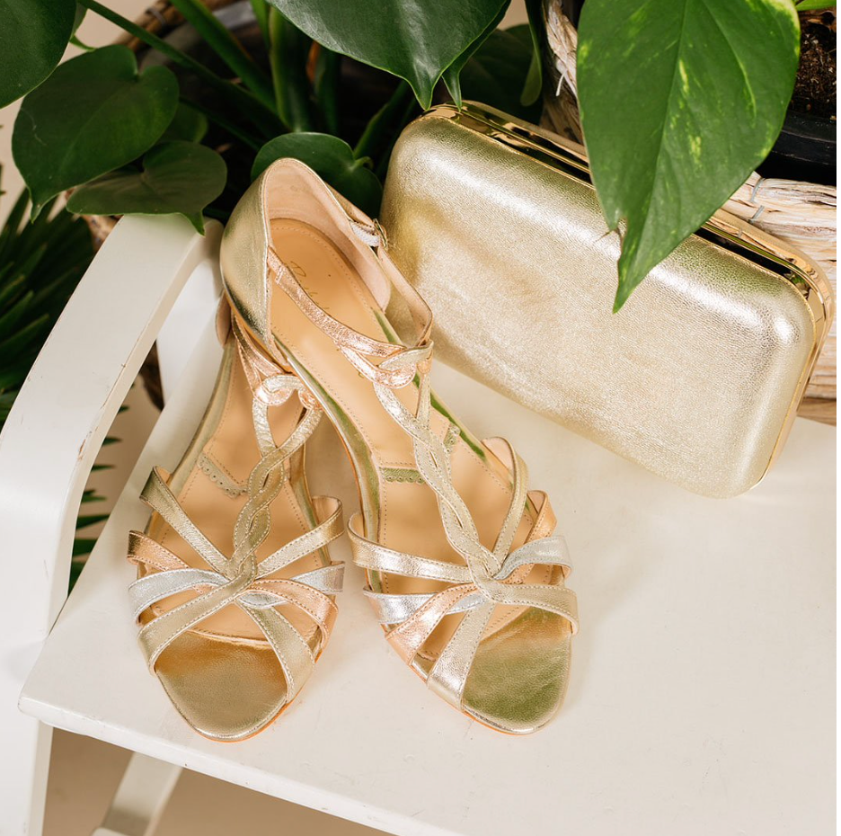 Rachel Simpson Luna flat gold sandals