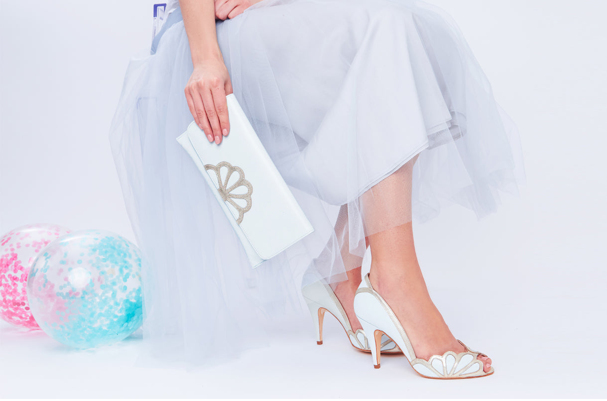 Rachel Simpson Isabelle ivory and silver wedding shoes
