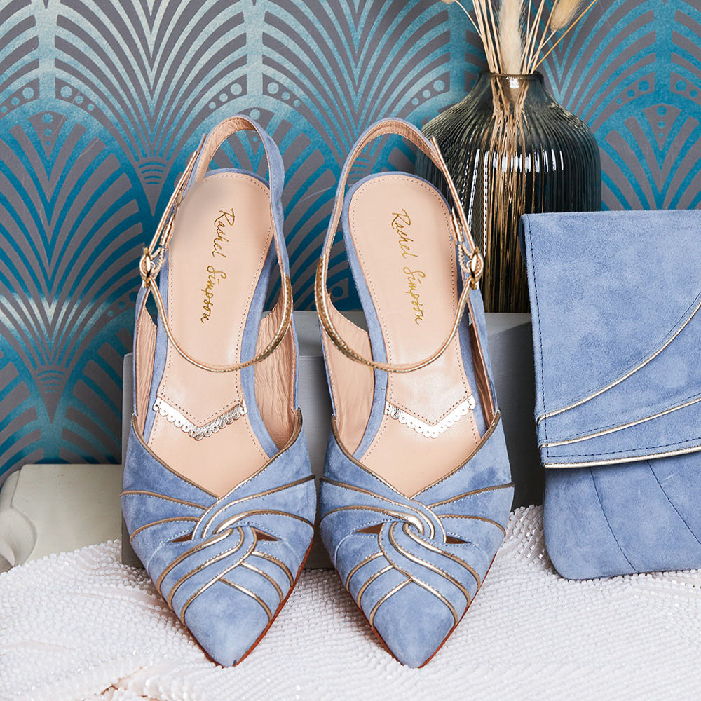 Rachel Simpson Stephanie dusky blue pointed wedding shoes