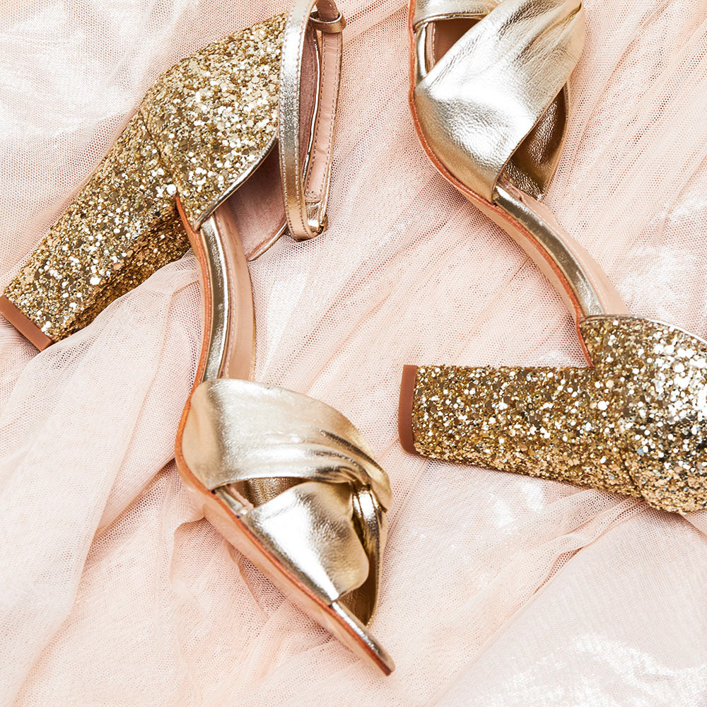 Rachel Simpson Candyfloss gold glitter block heel wedding shoes