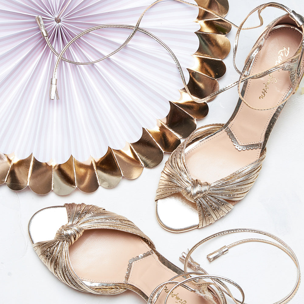 Rachel Simpson Maria gold strappy wedding shoes