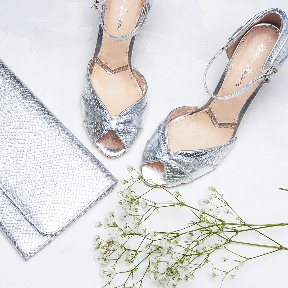Rachel Simpson Gigi silver peep toe shoes and Layla silver clutch bag