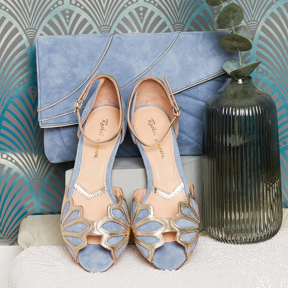 Rachel Simpson Isadora dusky blue wedding shoes