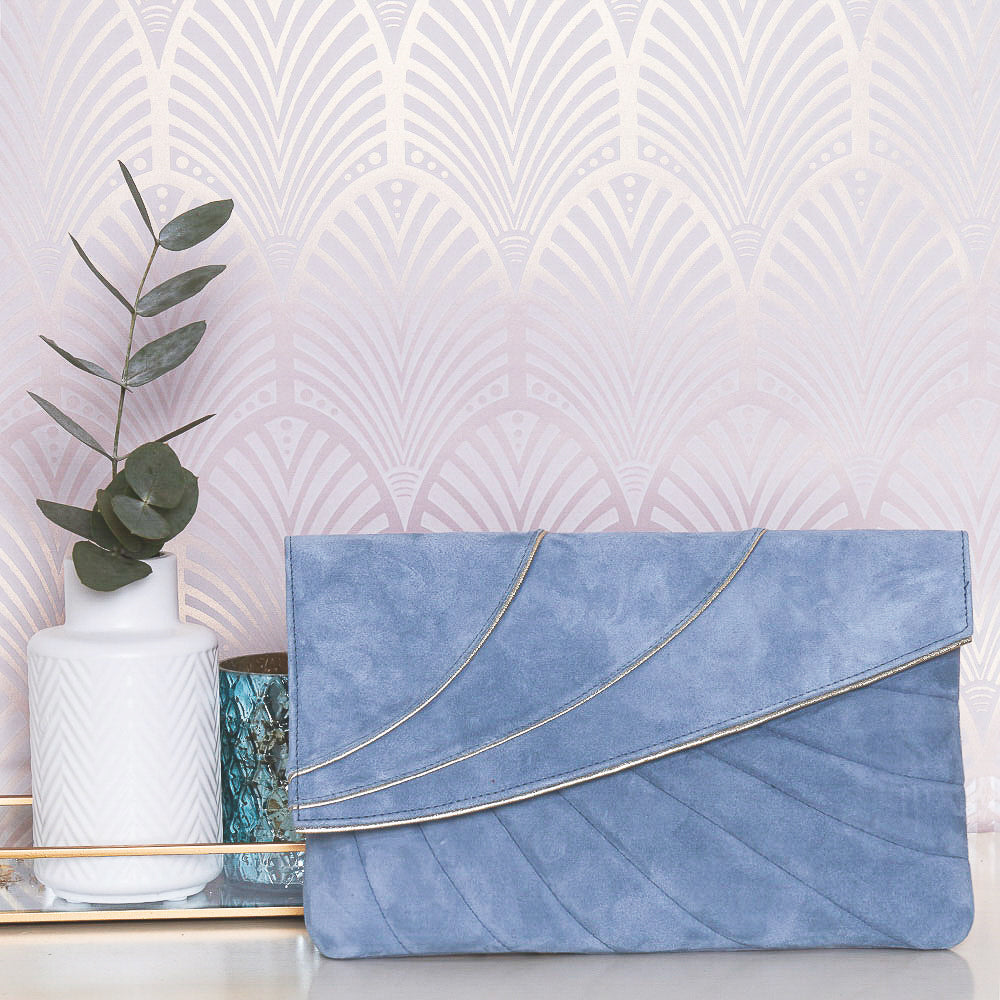 Rachel Simpson Sabine dusky blue clutch bag