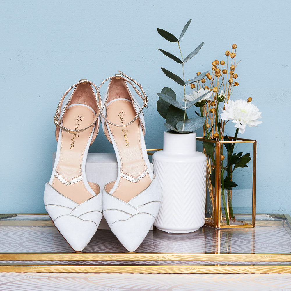 Rachel Simpson Clementine ivory low heeled wedding shoes