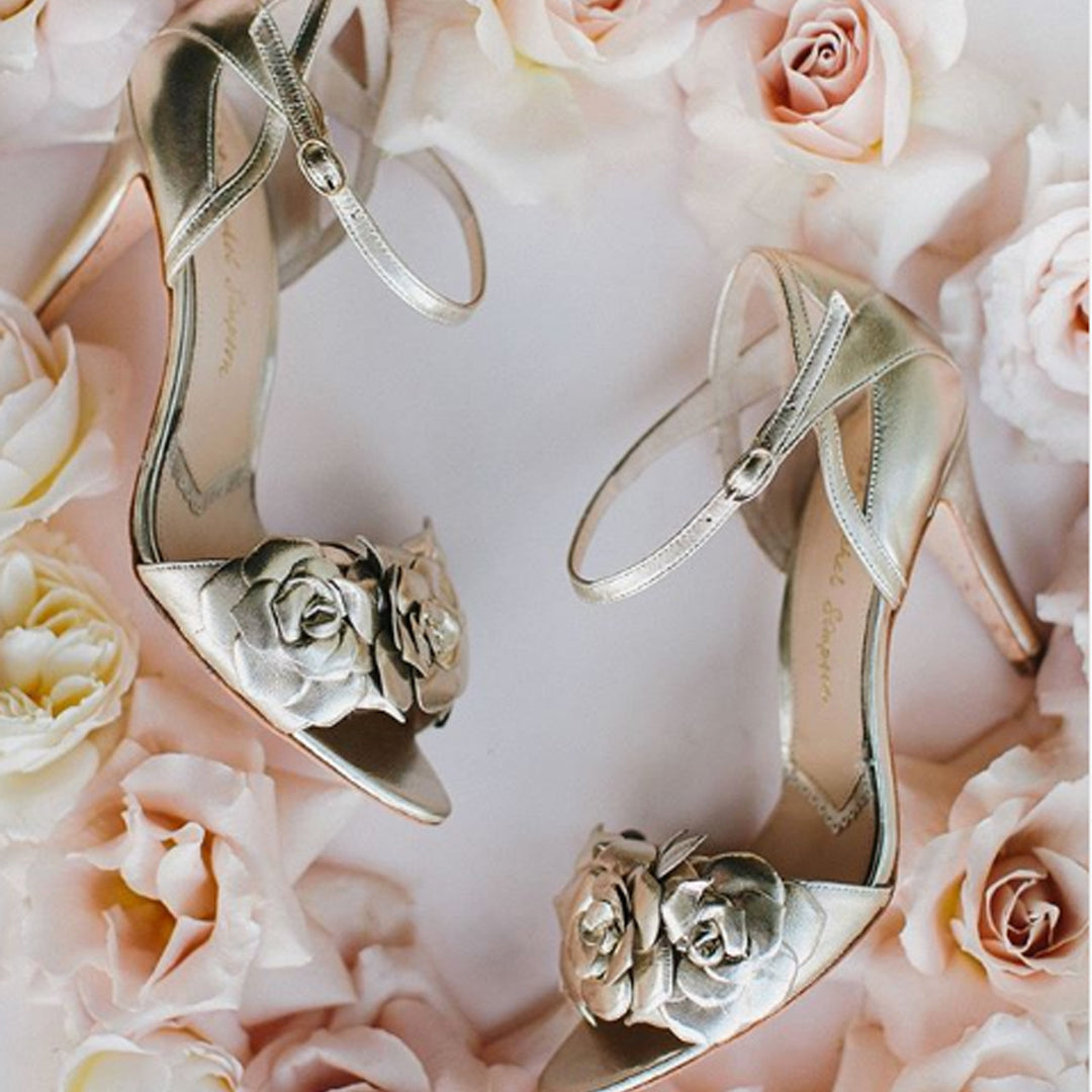 Zadie Gold Wedding bridal Shoes Floral Statement Rachel Simpson Shoes