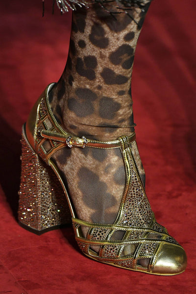 Dolce and Gabbana Jewel Gold Heeled Shoe