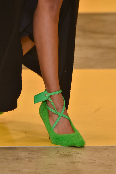 Off White Faux Fur cross over heeled shoe AW19