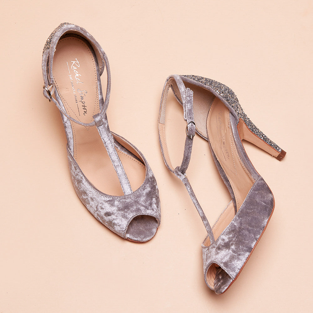 Rachel Simpson Olivia grey and silver t-bar glitter wedding shoes