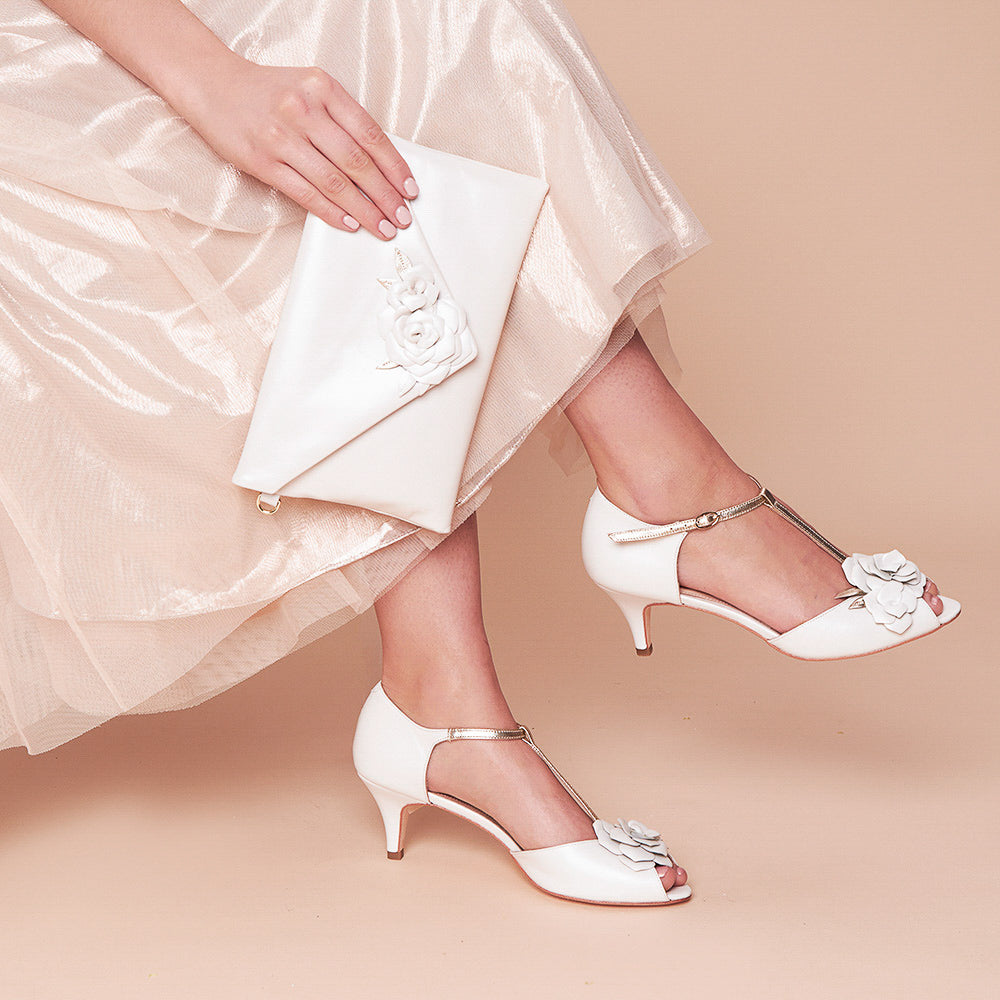Lola Rose tbar ivory pearlised metallic wedding shoes and matching bridal clutch bag
