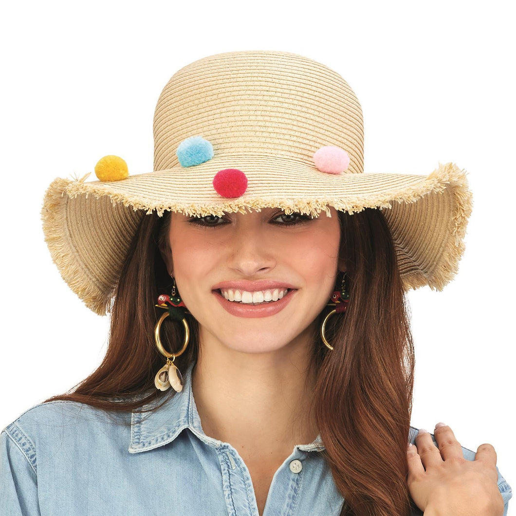 Multi Colored Pom Pom Floppy Hat