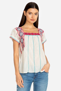 Johnny Was Kaya Crop Peasant Top