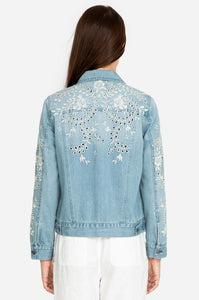 Johnny Was Eyelet Crop Denim Jacket
