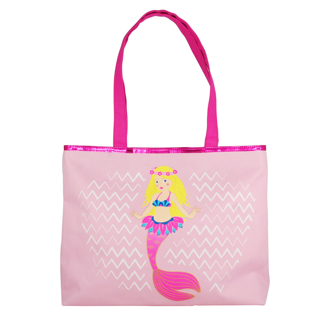 Pink Poppy Mermaid Beach Bag