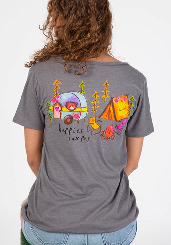 Natural Life Happier Camper V-neck Pocket Tee