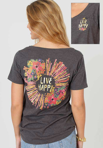 Natural Life Live Happy V-Neck Pocket Tee