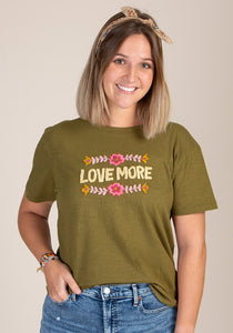 Natural Life Hand Embroidered Tee Love More