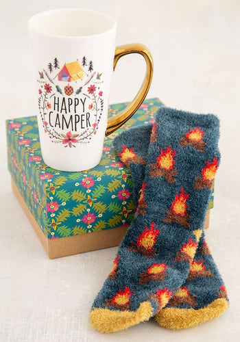 Natural Life Happy Camper Mug & Cozy Sock gift set